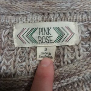 Pink Rose Sweaters - Pink Rose tan and white knitted scoop neck sweater